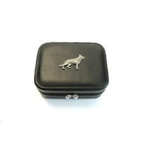 German Shepherd Design Small Black Travel Jewellery Box