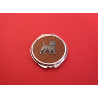 Cairn Terrier on Brown Round Compact Mirror Useful Gift