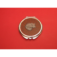 Long Haired Cat on Brown Round Compact Mirror Useful Gift