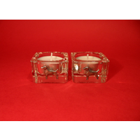 Jack Russell Motif On Square Glass Tea Light Holders Gift