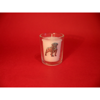 Rottweiler Motif On Glass Votive Candle Holder Xmas Gift