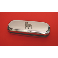 Staffordshire Terrier Motif Chrome Glasses Case Useful Xmas Gift