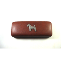 Airedale Terrier Pewter Motif on Brown Faux Leather Glasses Case