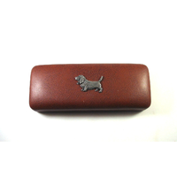 Basset Hound Pewter Motif on Brown Faux Leather Glasses Case Dog