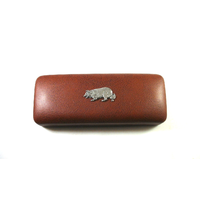Border Collie Pewter Motif on Brown Faux Leather Glasses Case