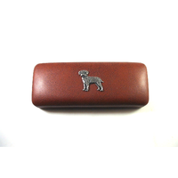 Border Terrier Pewter Motif on Brown Faux Leather Glasses Case