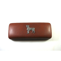 Boxer Dog Pewter Motif on Brown Faux Leather Glasses Case