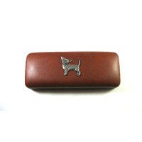 Chihuahua Pewter Motif on Brown Faux Leather Glasses Case