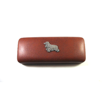 Cocker Spaniel Pewter Motif on Brown Faux Leather Glasses Case