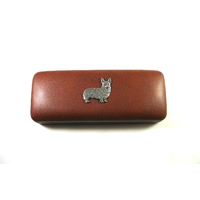 Corgi Dog Pewter Motif on Brown Faux Leather Glasses Case
