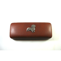 Dachshund Dog Pewter Motif on Brown Faux Leather Glasses Case