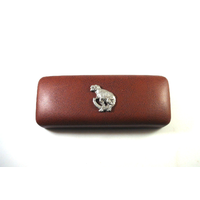 Dinosaur T Rex Pewter Motif on Brown Faux Leather Glasses Case