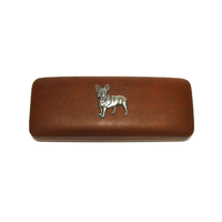 French Bulldog Pewter Motif on Brown Faux Leather Glasses Case
