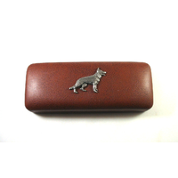 German Shepherd Dog Motif on Brown Faux Leather Glasses Case