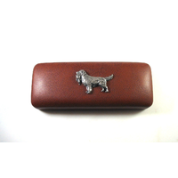 Golden Retriever Motif on Brown Faux Leather Glasses Case