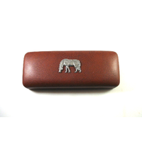 Grazing Pony Motif on Brown Faux Leather Glasses Case