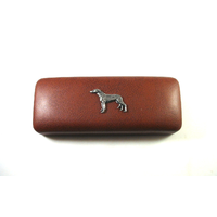 Greyhound Motif on Brown Faux Leather Glasses Case