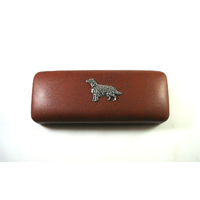 Irish Setter Motif on Brown Faux Leather Glasses Case