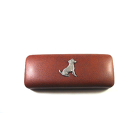 Jack Russell Terrier Motif on Brown Faux Leather Glasses Case