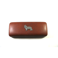 King Charles Spaniel Motif on Brown Faux Leather Glasses Case