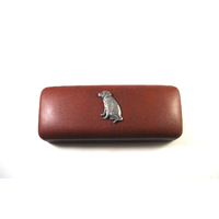 Labrador Retriever Motif on Brown Faux Leather Glasses Case