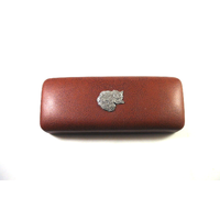 Long Haired Cat Pewter Motif on Brown Faux Leather Glasses Case