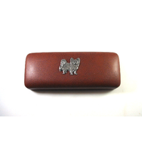 Papillon Dog Pewter Motif on Brown Faux Leather Glasses Case
