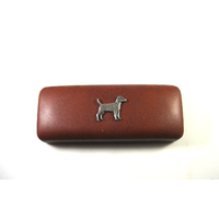 Patterdale Terrier Motif on Brown Faux Leather Glasses Case
