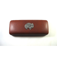 Pomeranian Dog Motif on Brown Faux Leather Glasses Case