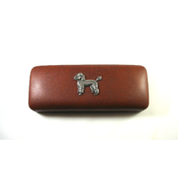 Poodle Dog Pewter Motif on Brown Faux Leather Glasses Case