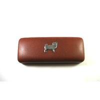 Pug Dog Pewter Motif on Brown Faux Leather Glasses Case