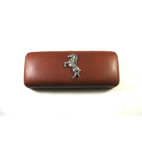 Rearing Horse Pewter Motif on Brown Faux Leather Glasses Case