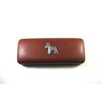 Miniature Schnauzer Motif on Brown Faux Leather Glasses Case