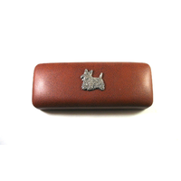 Scottish Terrier Motif on Brown Faux Leather Glasses Case