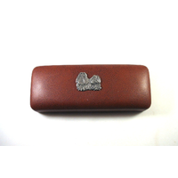 Shih Tzu Dog Motif on Brown Faux Leather Glasses Case