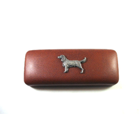Springer Spaniel Pewter Motif on Brown Faux Leather Glasses Case