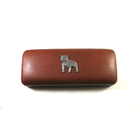 Staffordshire Bull Terrier on Brown Faux Leather Glasses Case
