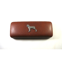 Weimaraner Dog Motif on Brown Faux Leather Glasses Case