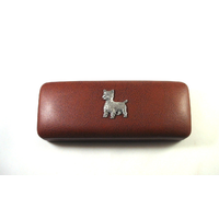 West Highland Terrier Motif on Brown Faux Leather Glasses Case