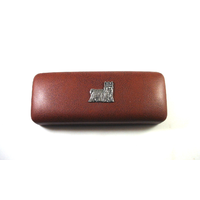 Yorkshire Terrier Motif on Brown Faux Leather Glasses Case