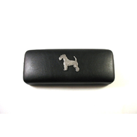 Airedale Terrier Pewter Motif on Black Faux Leather Glasses Case