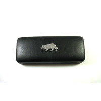 Border Collie Pewter Motif on Black Faux Leather Glasses Case