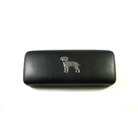 Border Terrier Pewter Motif on Black Faux Leather Glasses Case