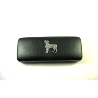 Boxer Dog Pewter Motif on Black Faux Leather Glasses Case