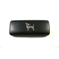 Chihuahua Pewter Motif on Black Faux Leather Glasses Case