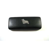 Cocker Spaniel Pewter Motif on Black Faux Leather Glasses Case