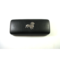 Dachshund Pewter Motif on Black Faux Leather Glasses Case