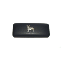 French Bulldog Pewter Motif on Black Faux Leather Glasses Case
