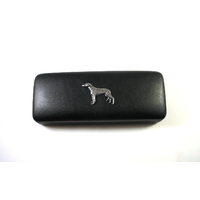 Greyhound Pewter Motif on Black Faux Leather Glasses Case