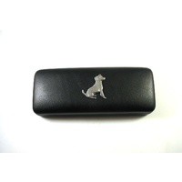 Jack Russell Pewter Motif on Black Faux Leather Glasses Case